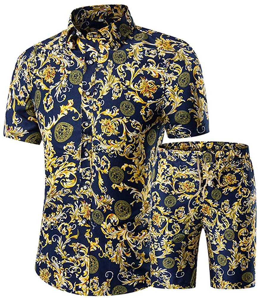 Mens Short Sleeve Tracksuit Floral Hawaiian Shirt and Shorts Suit Fashion 2 Piece Beach Outfits Sets