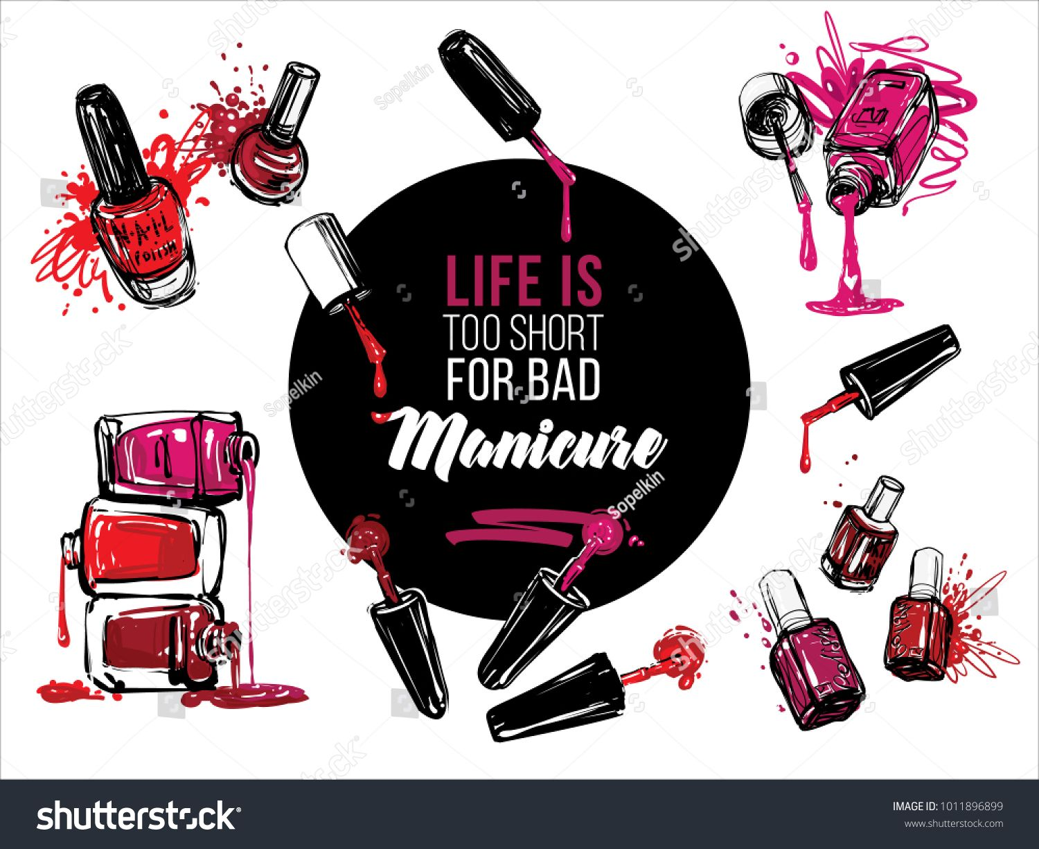 Nail polish bottles banner design set. Vector fashion