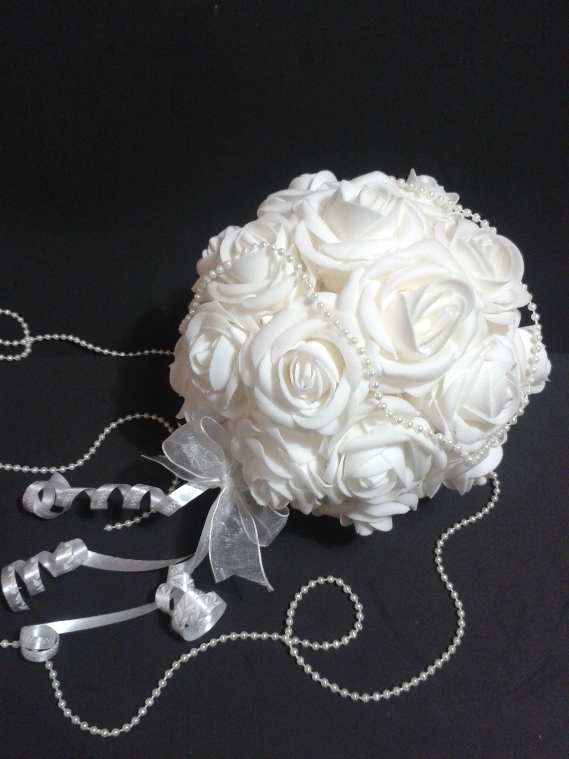 Bouquet de rosas artificiales para alfileres de boda - Como hacer un ramo de flores artificiales ...