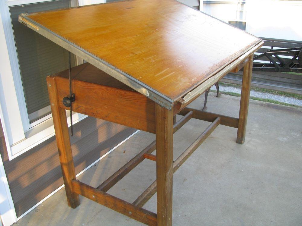 Antique Vintage Hamilton Solid Wood Oak 4 Post 2 Drawer Drafting Table Desk Nice Wood Drafting Table Drafting Table Table Desk