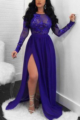 Fashion Sexy Long Sleeved Blue Lace Dress