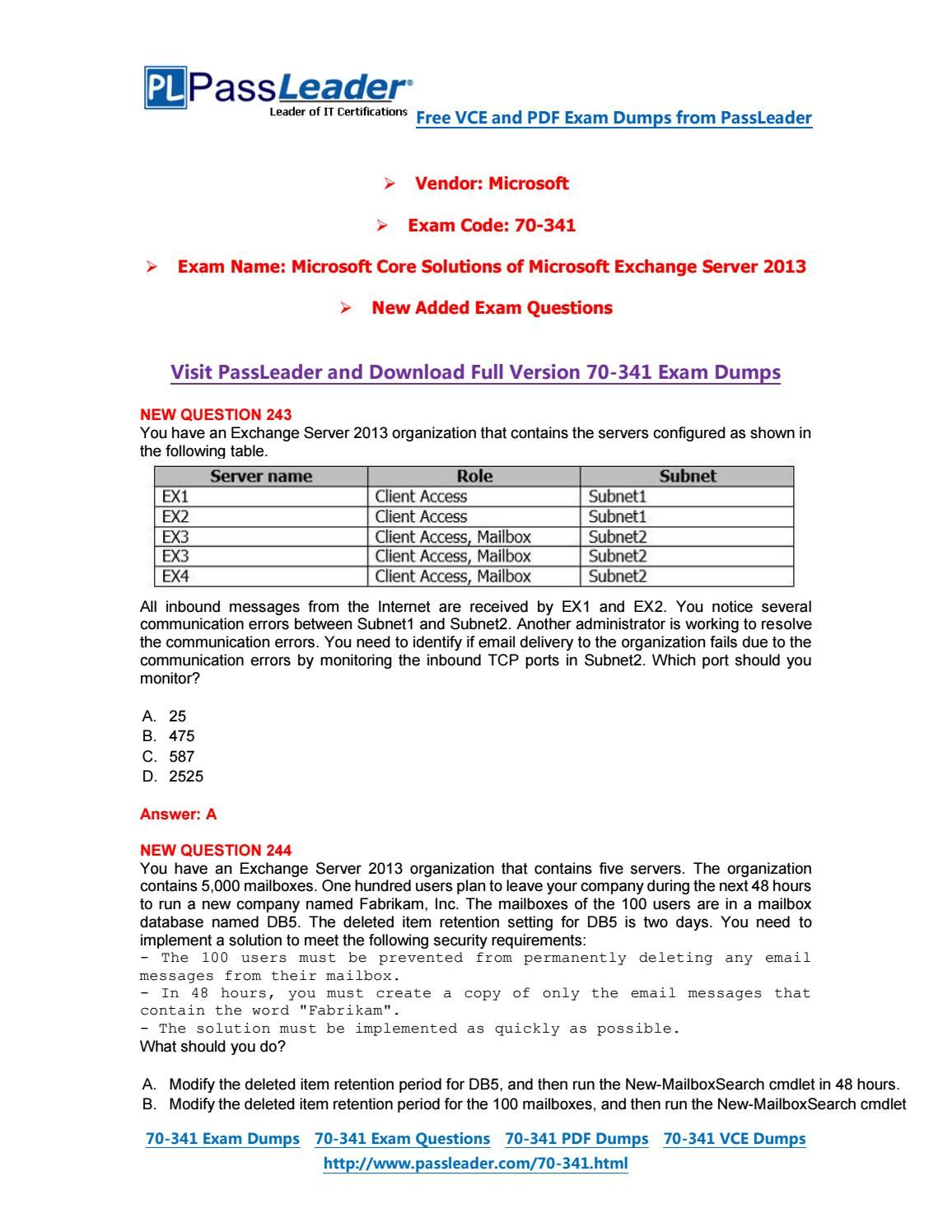 [Aug-2016] New Free PassLeader 70-341 Dumps with VCE and PDF  [Aug-2016] New…