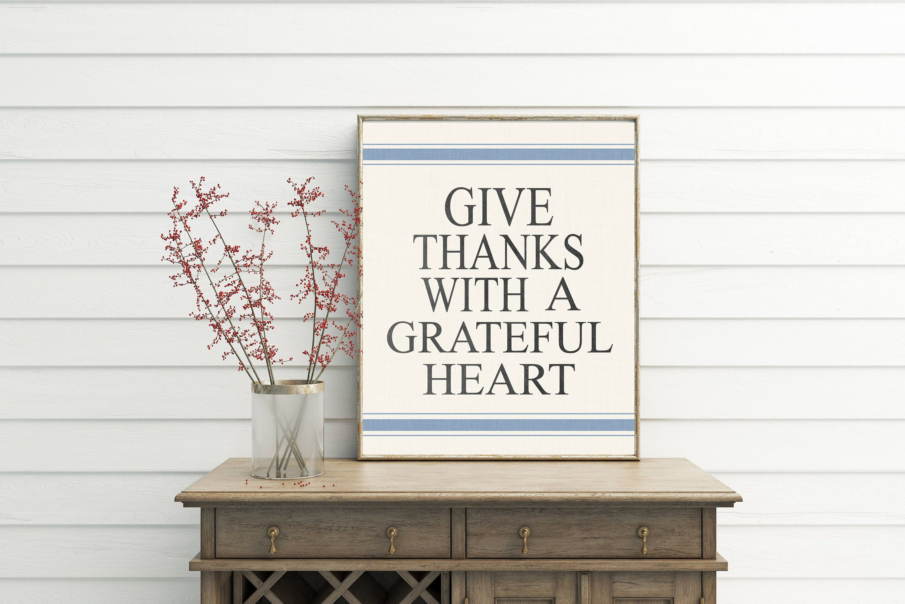 give thanks with a grateful heart printable dining room wall