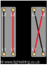 Single gang intermediate light switch operational wiring diagram
