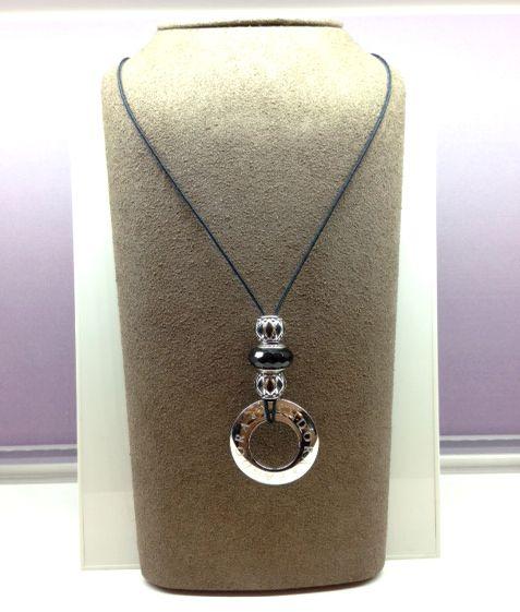 Lariat Design Using A Black Cord, Pandora Watch Bezel, One Facinating Black  Murano Glass