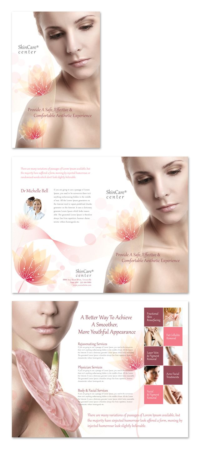 Skin Care Clinic Brochure Template Skin Care Clinic Beauty Brochures Beauty Clinic