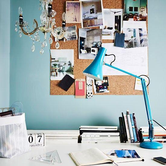 Wohnideen arbeitszimmer home office b ro blaue und wei e home office zuhause arbeitsplatz - Wohnideen arbeitszimmer ...