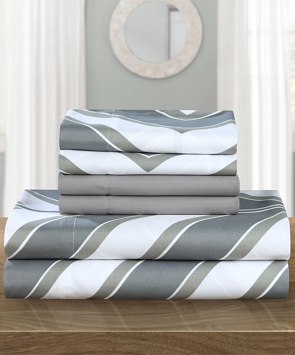 gray chic home jacqui chevron sheet set | sheet sets, chevron