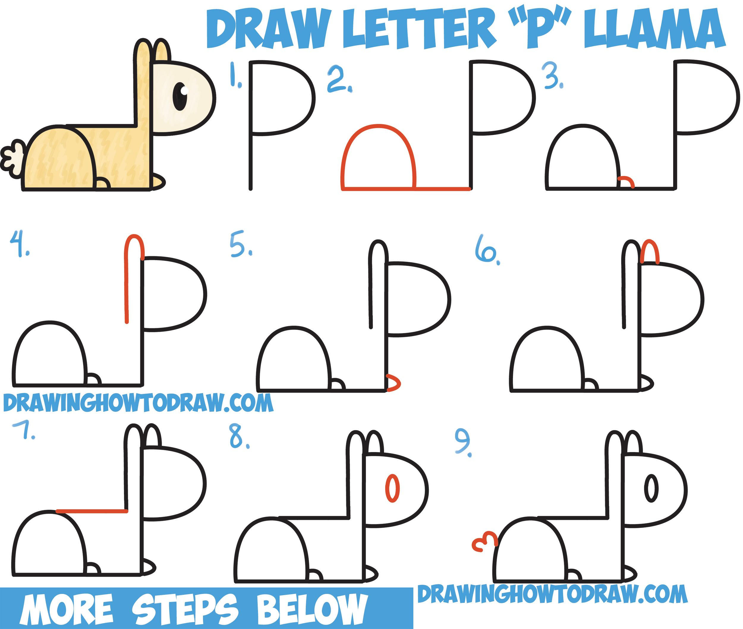 How To Draw Cute Cartoon Kawaii Llama Or Alpaca From P