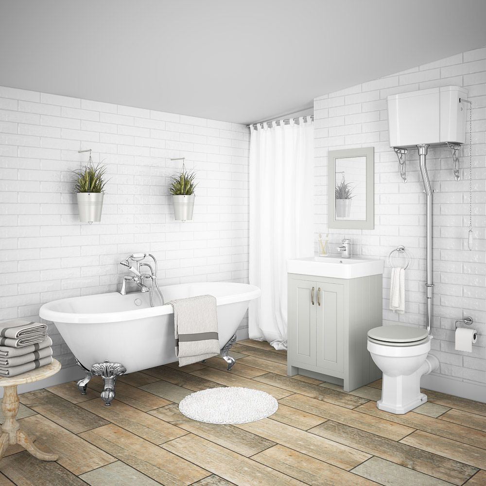 Chatsworth High Level Grey Roll Top Bathroom Suite Bathroom Hv