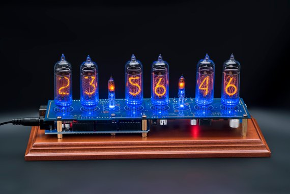 Nixie Tubes Clock on IN-14 on Wooden Stand Arduino with