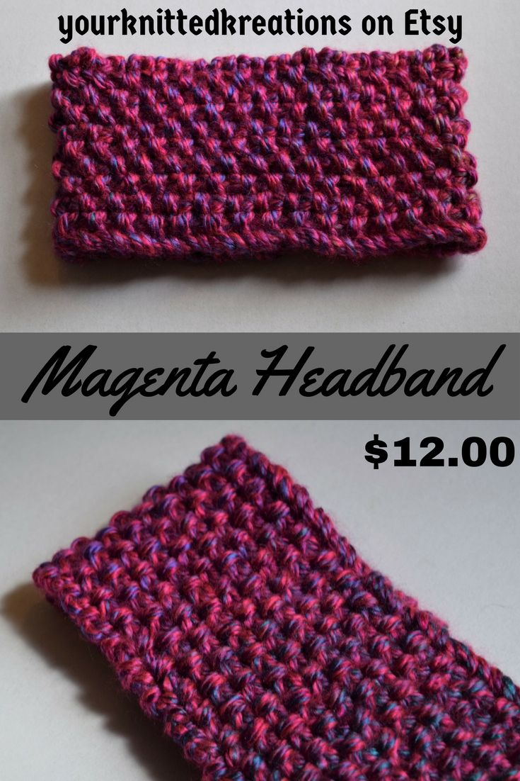 $12.00- Magenta handmade, chunky knit headband, ear warmers. Pretty ...