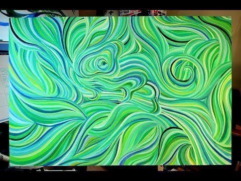Acrylic Painting Tutorial, Acrylmalerei Fließtechnik, Beginners, Anfänger, Abstract Art - YouTube