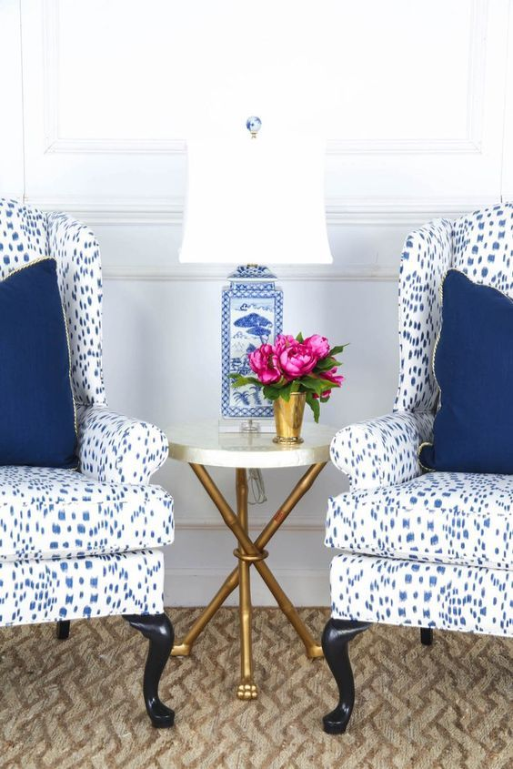 Genial Society Social Wing Chairs Upholstered In A Favorite Fabric Of Mine    Brunschwig U0026 Fils Les Touches With A Blue And White Chinese Porcelain Lamp  And A Pop ...