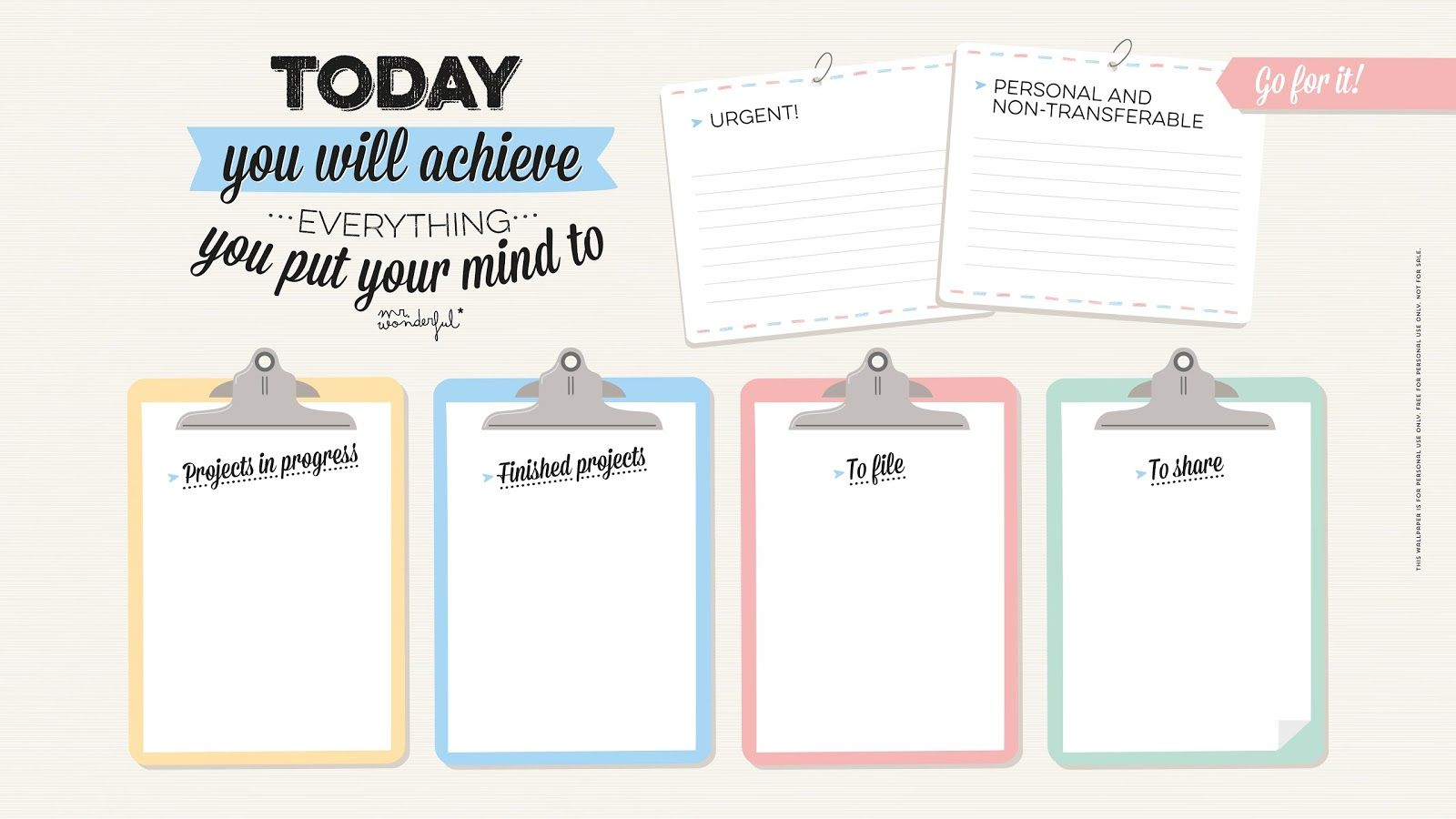 Clipboards Achieve quote desktop organizer wallpaper background - love this!   To use in 2019 ...