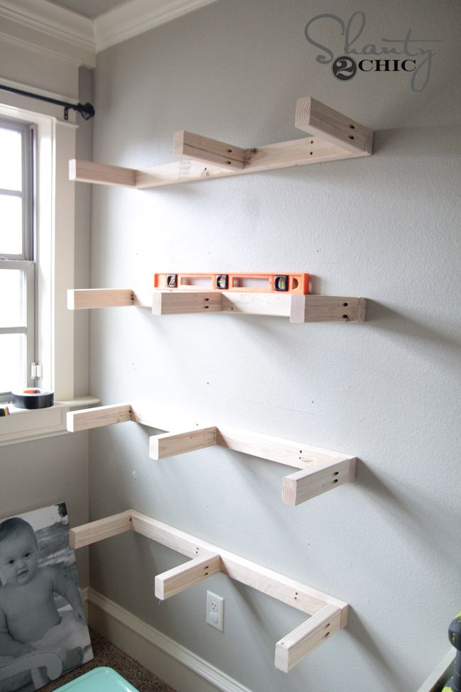 Attach Shelves to wall DIY Floating Shelves
