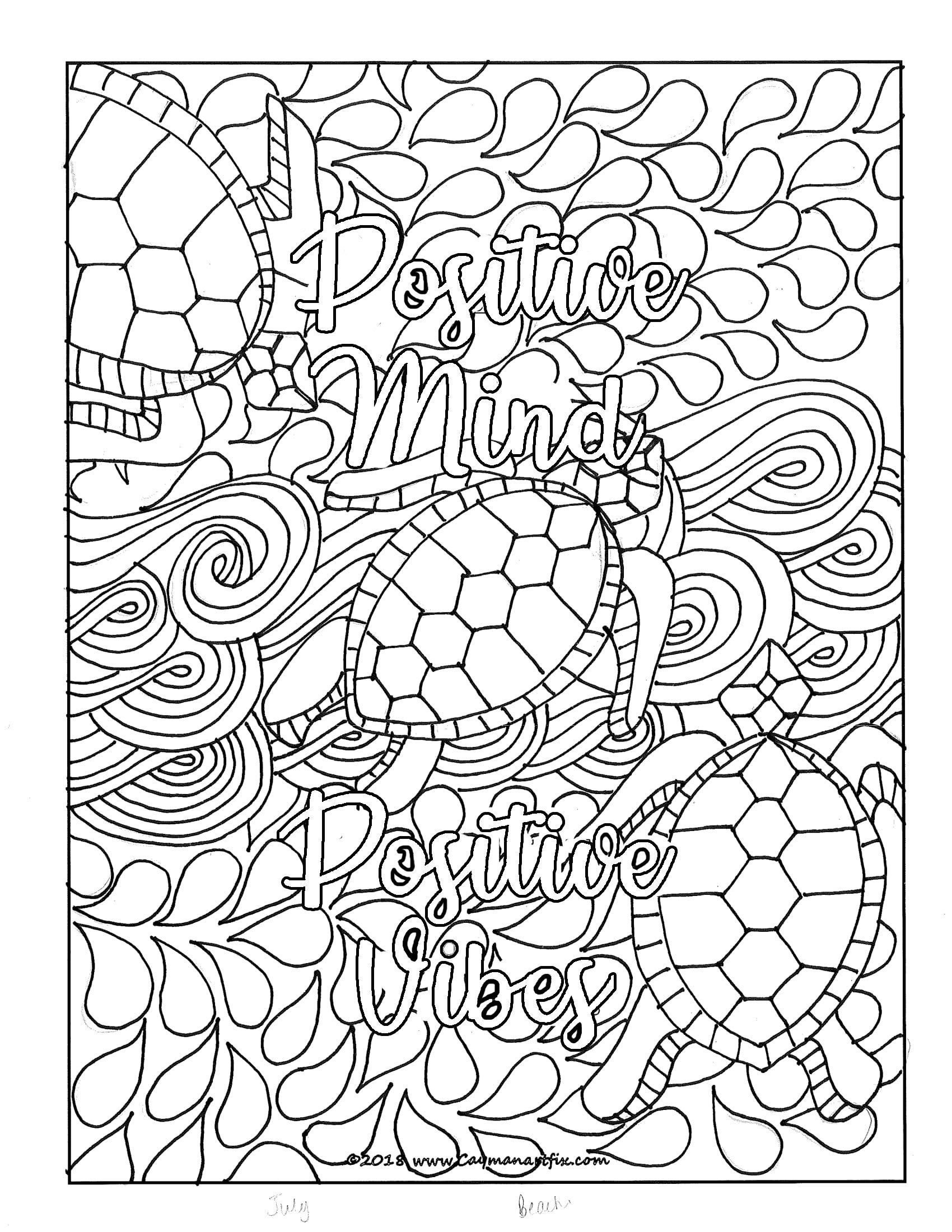 Positive Mind Positive Vibes Quote Coloring Page Etsy Manifestationlawofattractiondr Quote Coloring Pages Mindfulness Colouring Coloring Pages Inspirational