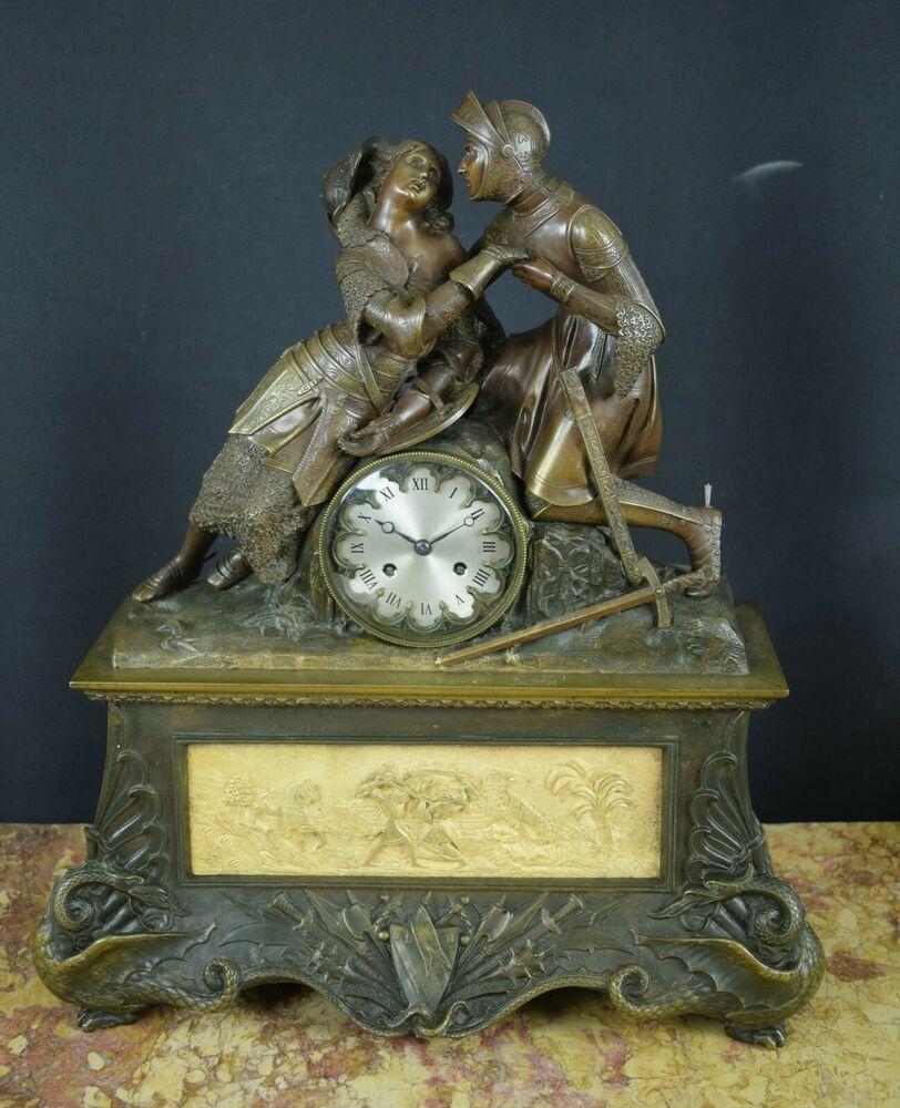Große Charles X Pendule Ritter Aus Brünierter Bronze Frankreich Um 1830 Brünieren Antike Uhren Kaminuhren