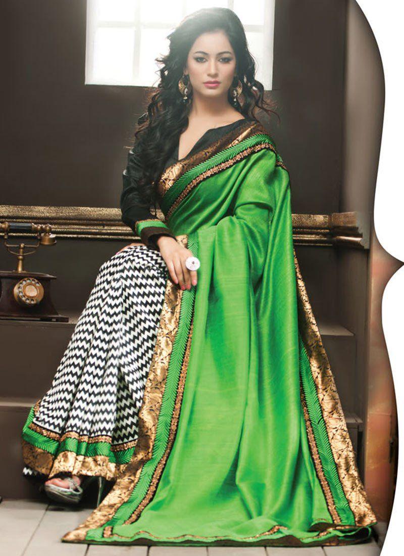 Captivating Off White N Green Half And Half Saree