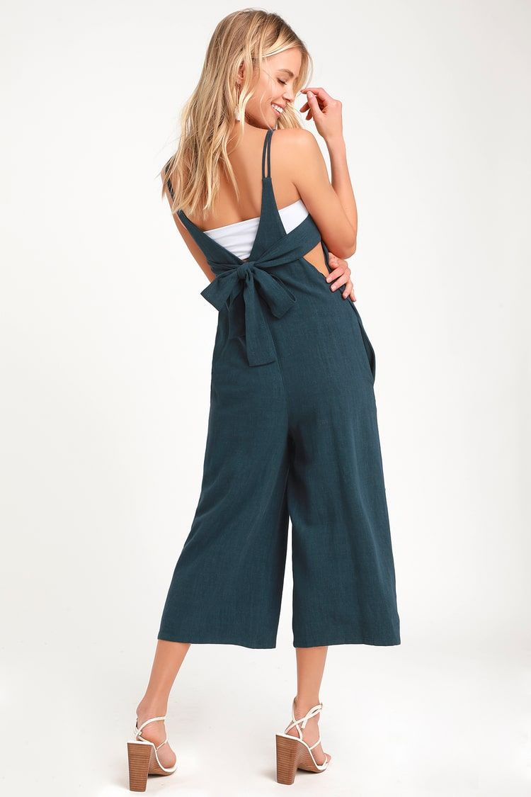 Rest and Relaxation Washed Navy Blue Culotte Jumpsuit 2