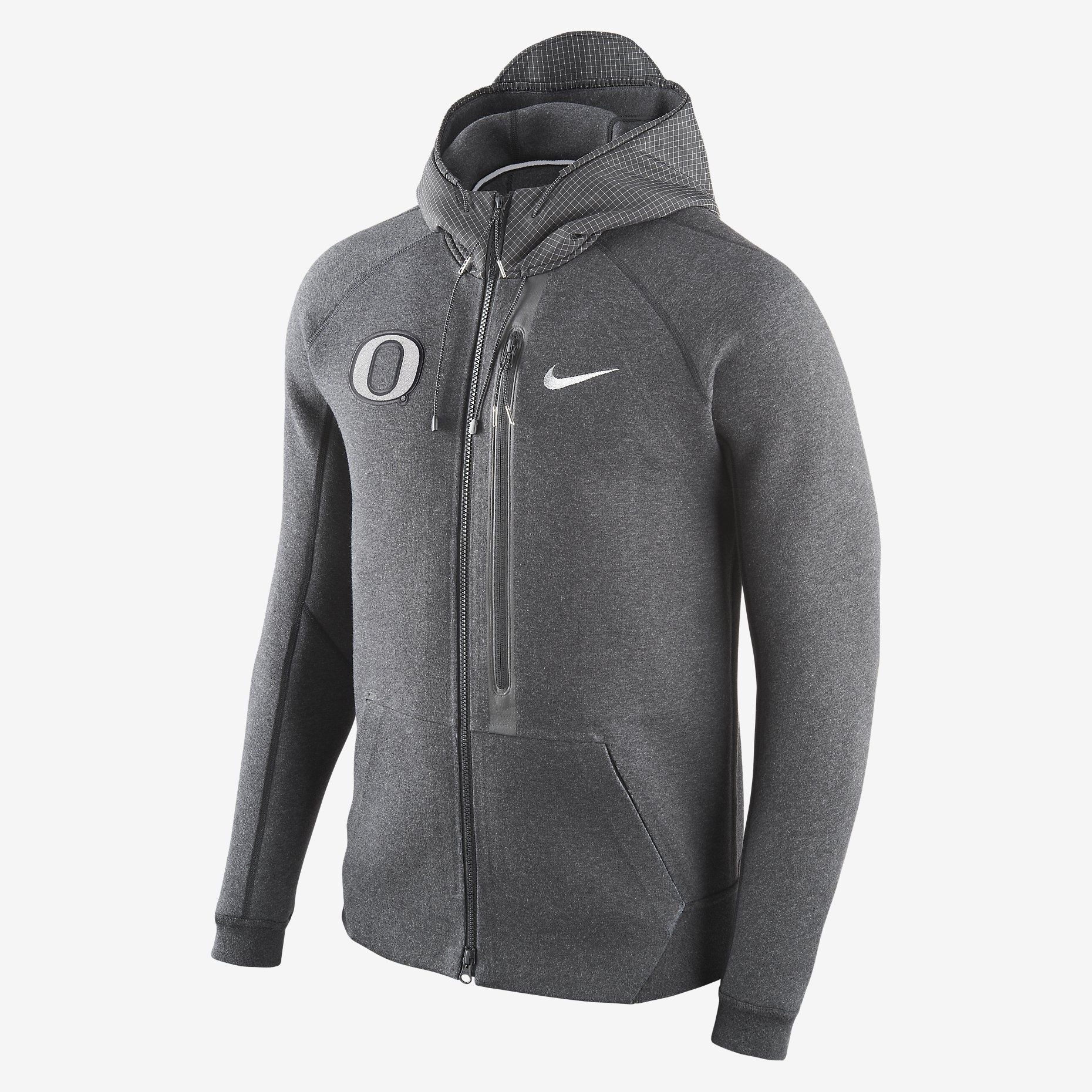 Mens Nike Diamond Quest Tech Fleece Full Zip Black Hoodie (Oregon)
