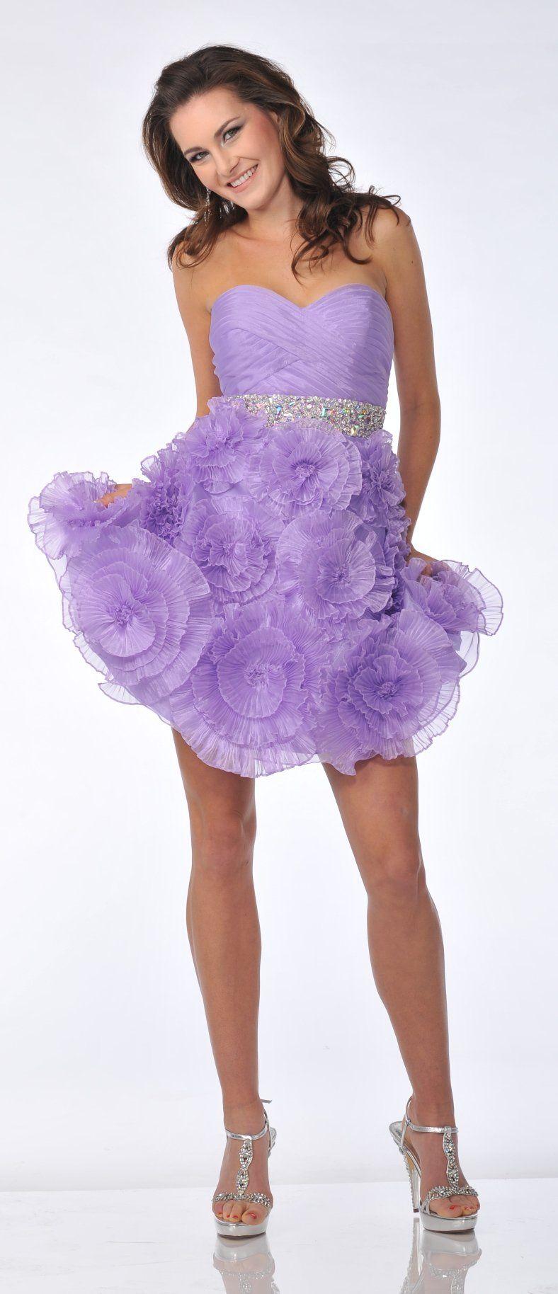 Strapless rhinestone waist short purple prom dress flower rosette