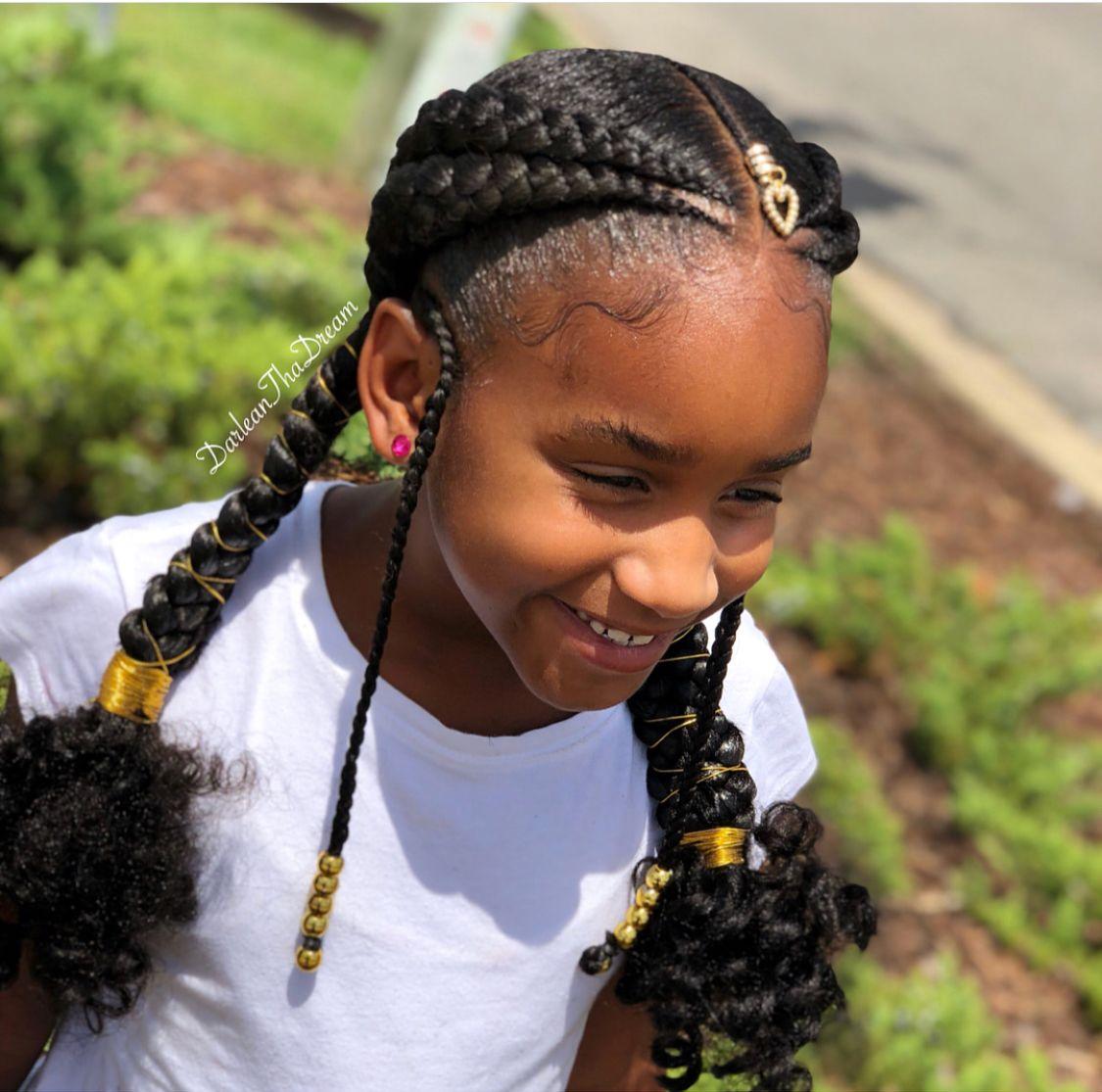 Feed In Braid Style For Natural Kids Hair Kids Hairstyles Hair Styles Black Kids Hairstyles