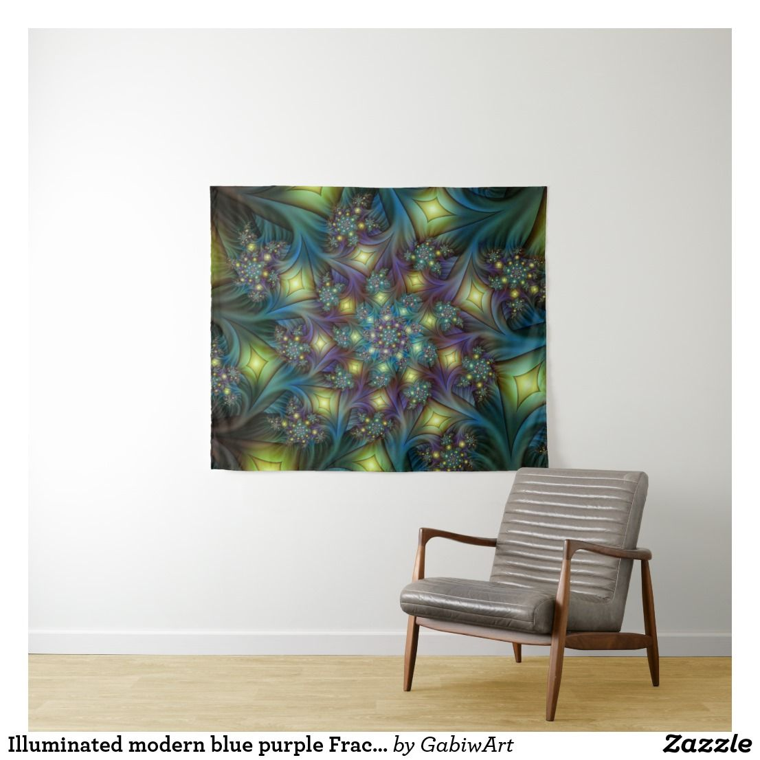 Wandteppich Modern Illuminated Modern Blue Purple Fractal Pattern Tapestry Zazzle