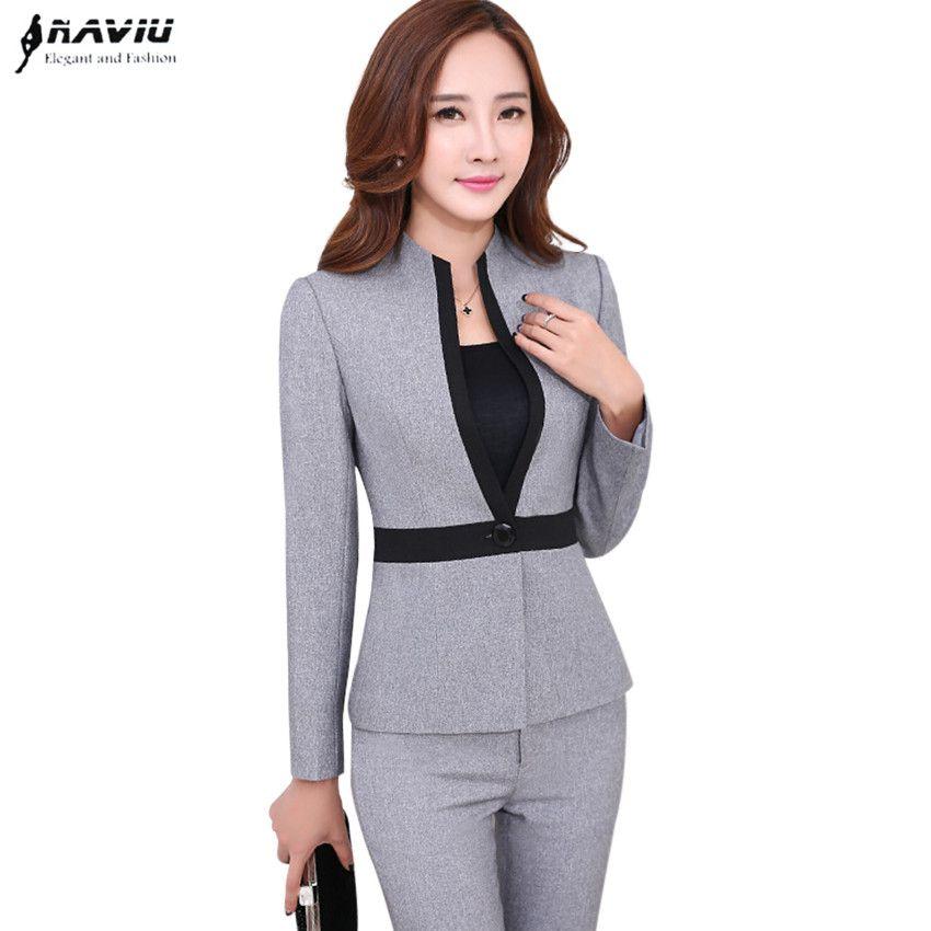 0bdb4d8ab6946 Cheap De alta calidad de la nueva manera de las mujeres trajes con  pantalones de ropa formal hembra más el tamaño de manga larga chaqueta con  Pantalones