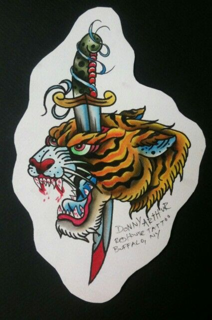 Traditional Old School Tiger Head Tattoo Inked Tiger Tattoo