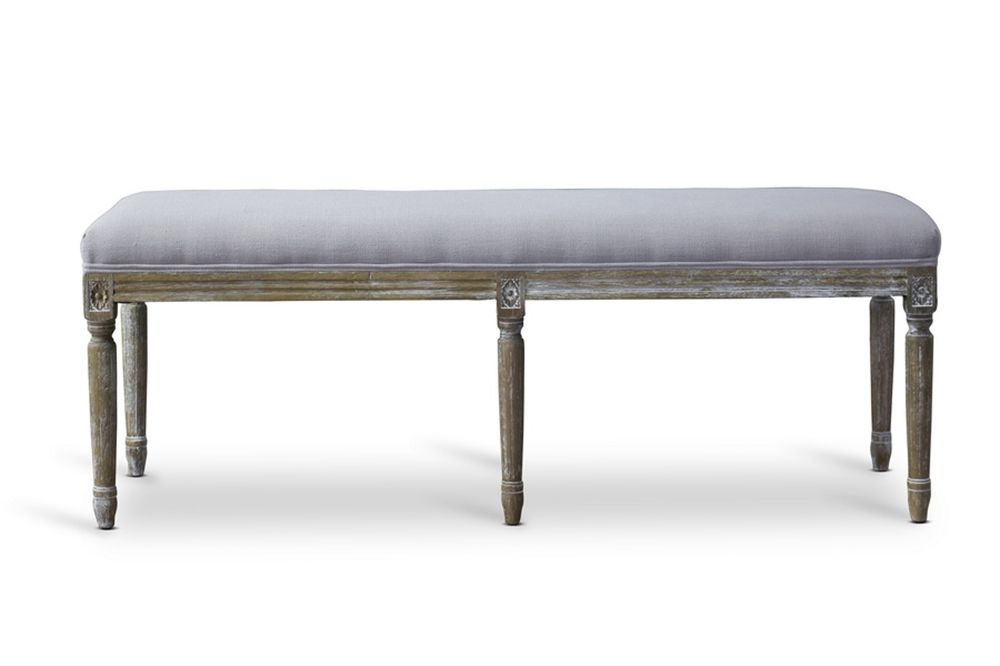 baxton studio clairette wood traditional french bench affordable