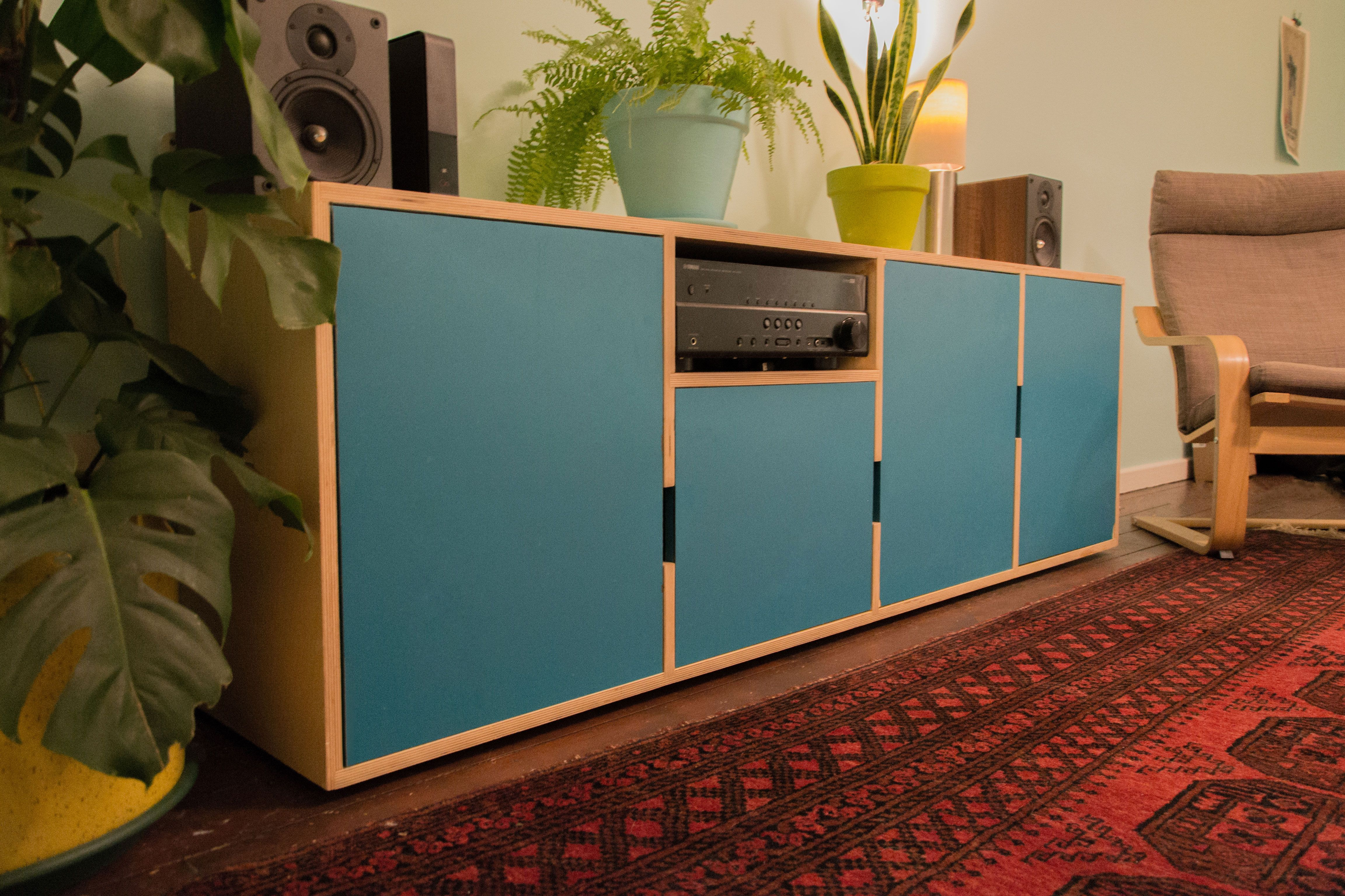 One of our very first cabinets. Birch ply with formica faced doors ...