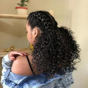 Two Low Ponytrails With Front Braids Natural Braided Hairstyles Natural Braided Hairstyles Natural Hair Styles Curly Hair Styles