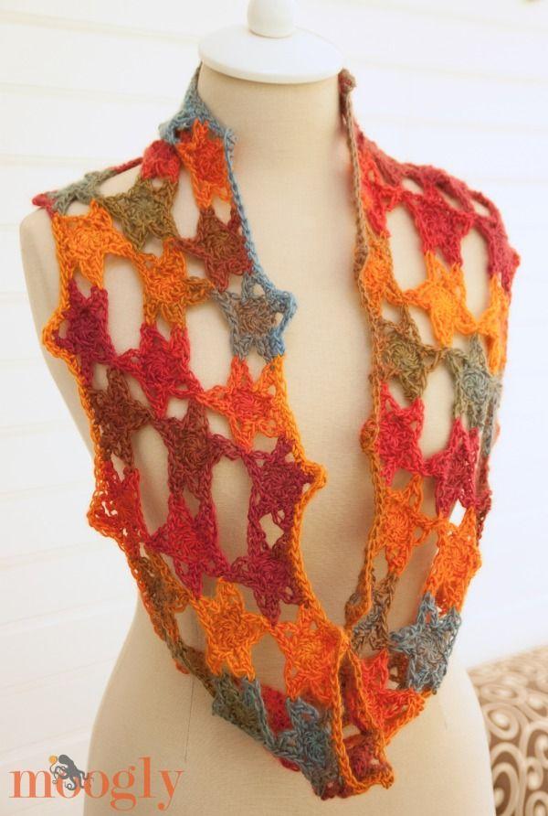 bufanda con estrellas | crochet para soñar | Pinterest | Chal ...