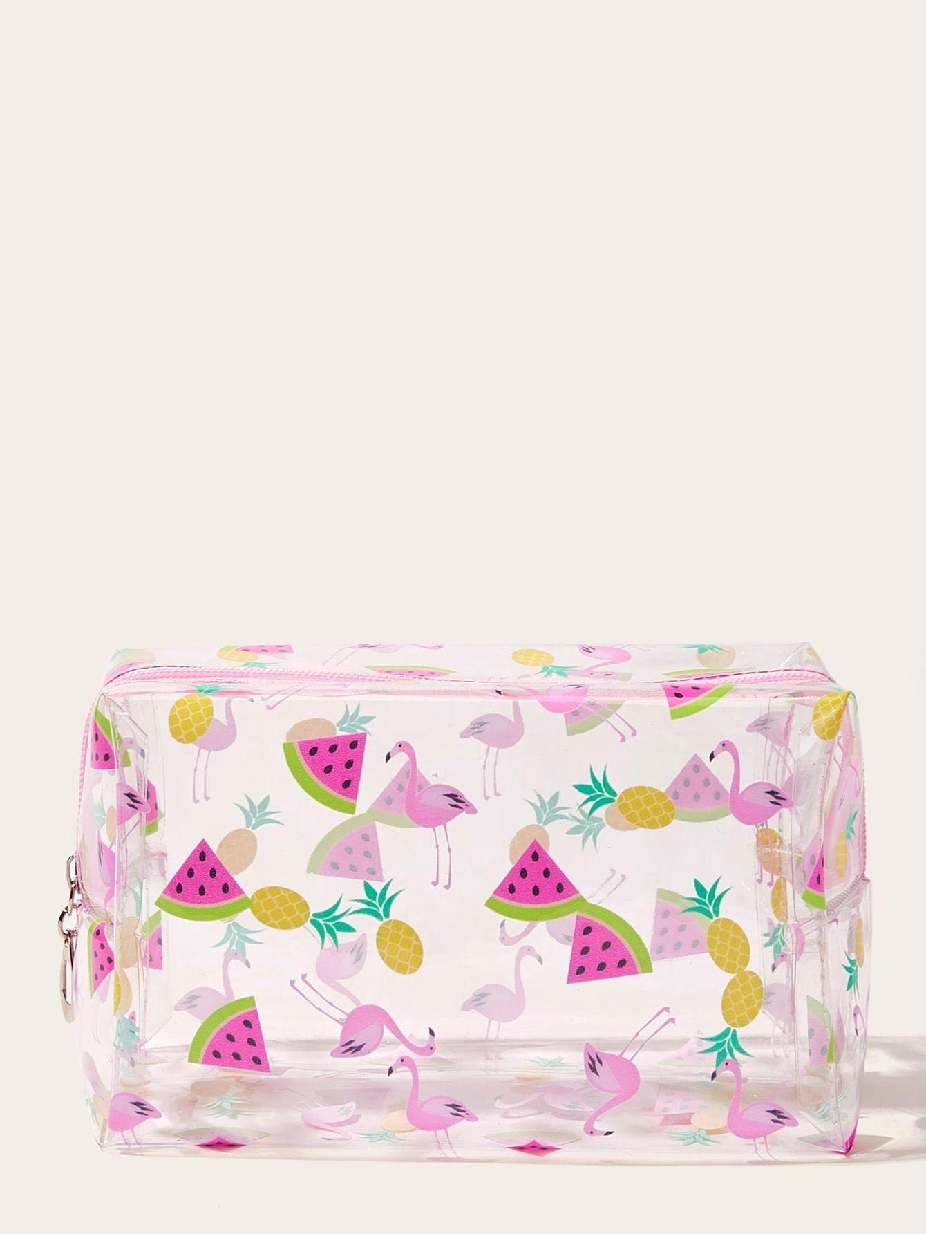 Flamingo & Watermelon Print Transparent Makeup Bag https