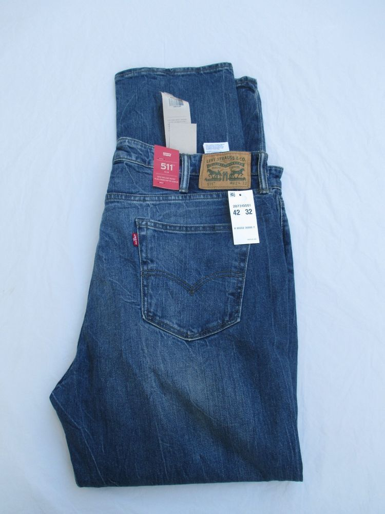 Levis Jeans Men 511 Slim Levi s Distressed Medium Denim 287310001 Brand New  Tags  Levis  Slim 3492ac0c2ac