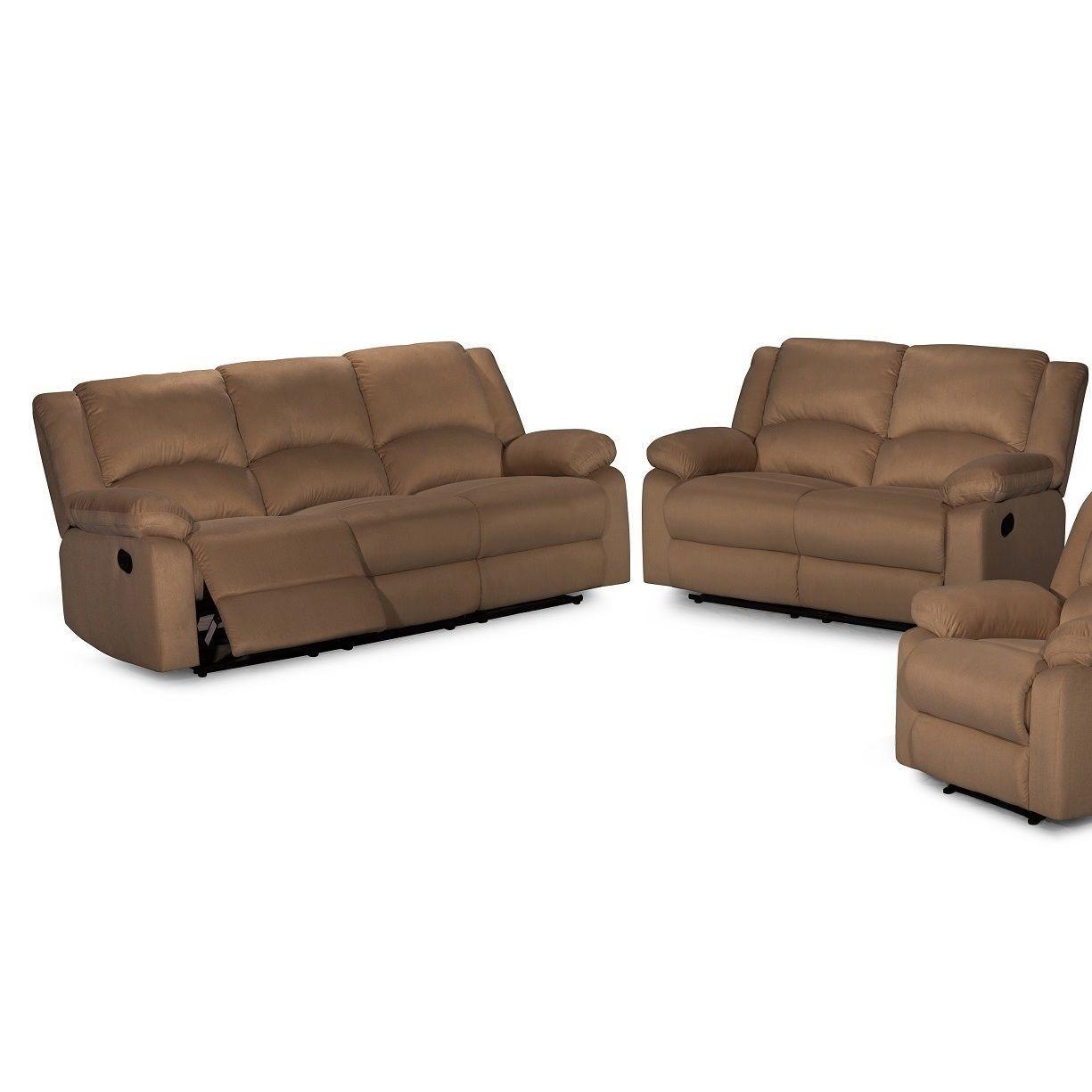 Broyhill Sofa Contemporary piece Microfiber Fabric Reclining Sofa Set Brown Fabric Reclining Sofa Set