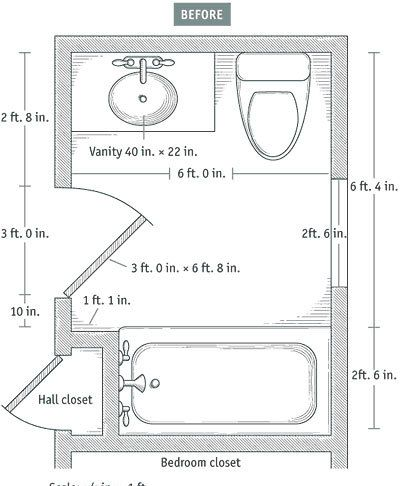 more on baths slideshow 7 small bathroom floorplan layouts kitchen bathroom planning design - Bathroom Remodel Layout