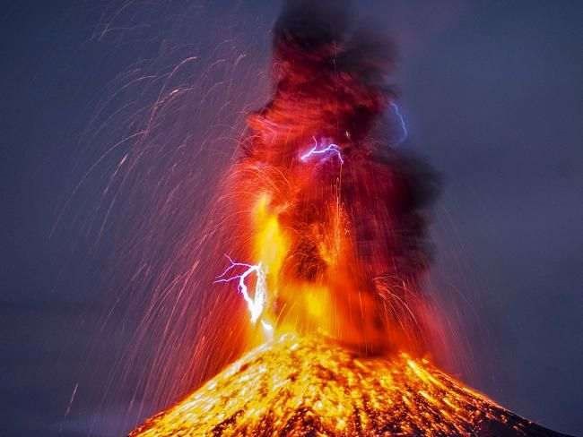 Picture Caters News Agency Volcano Pinterest Volcano Lava - Incredible neon blue lava flames erupt volcano