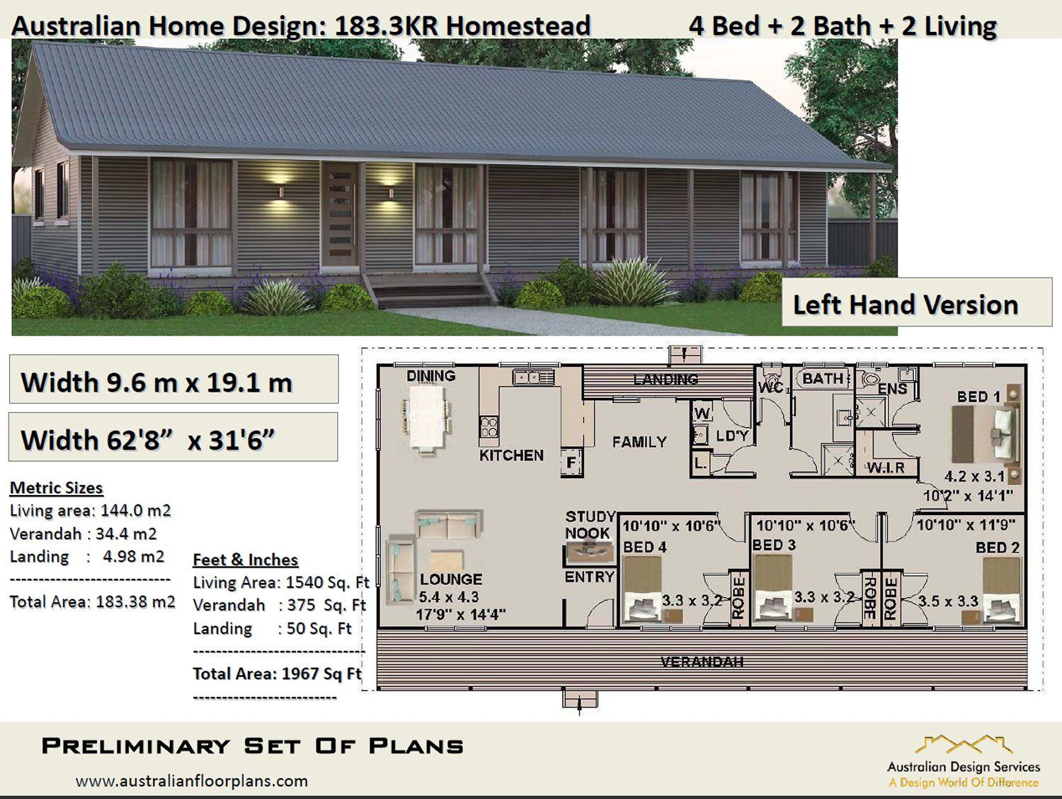 Country Style 4 Bed Plans 183m2 1967 Sq Ft 4 Bed House Etsy House Plans For Sale Modern House Plans House Plans Australia