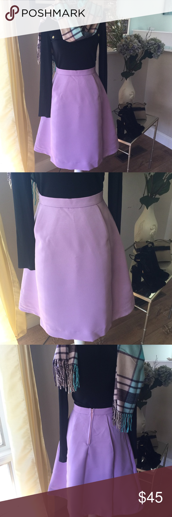 Lavender Pleated Skirt Classic pleated skirt in lavender. The full skirt is so hip this season. Paired with a fitted top a pair booties you are set! 💯% Polyester And fully lined. Dry Clean Only! size S M Skirts A-Line or Full
