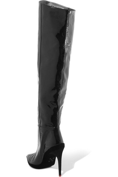 f85a2364a779 Off-White - For Walking Printed Patent-leather Knee Boots - Black ...