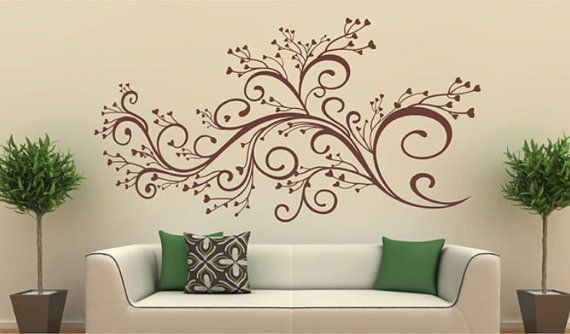 Vinyl wall decal nature design tree wall decals wall stickers nursery wall decal wall art beautiful flower via etsy