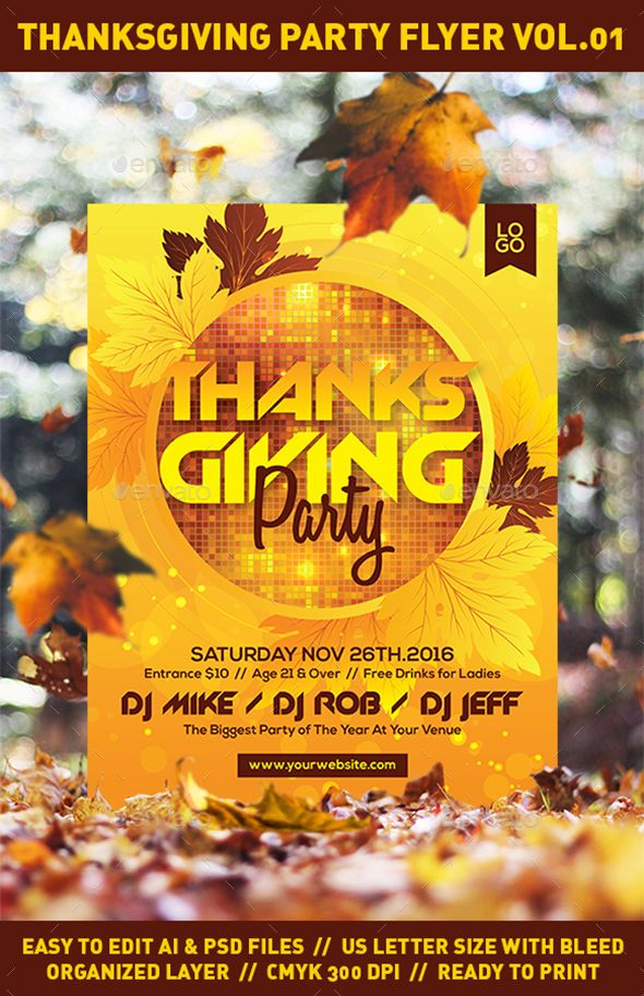 Thanksgiving Party Flyer Template Psd Ai Ilrator