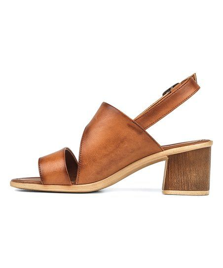 8a6f95f95fa36 RICCARDO COLLI Tan Double-Strap Leather Sandal - Women