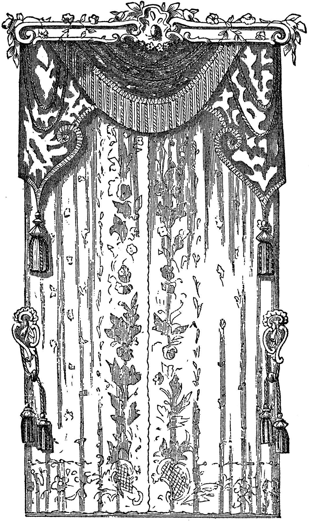 Black lace curtains vintage - Lace Curtains Stock Image