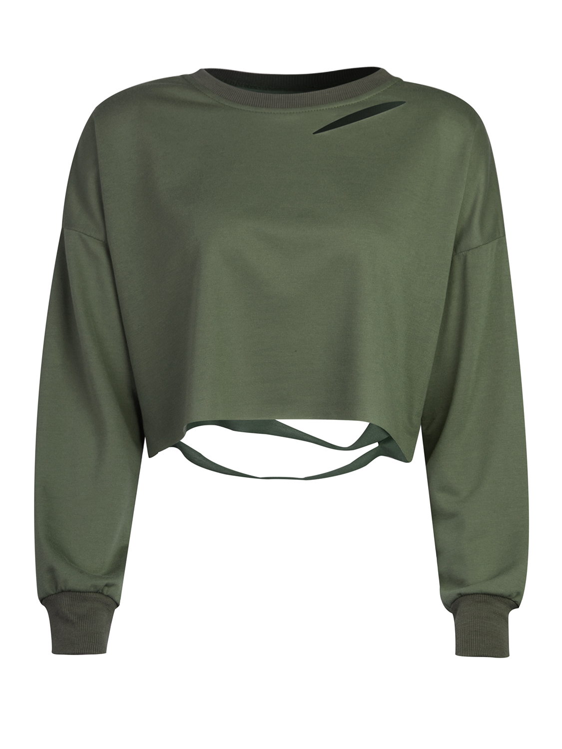 2810d6cf88b2f Shop Military Green Ripped Drop Shoulder Cropped Sweatshirt from choies.com  .Free shipping Worldwide. 18.99