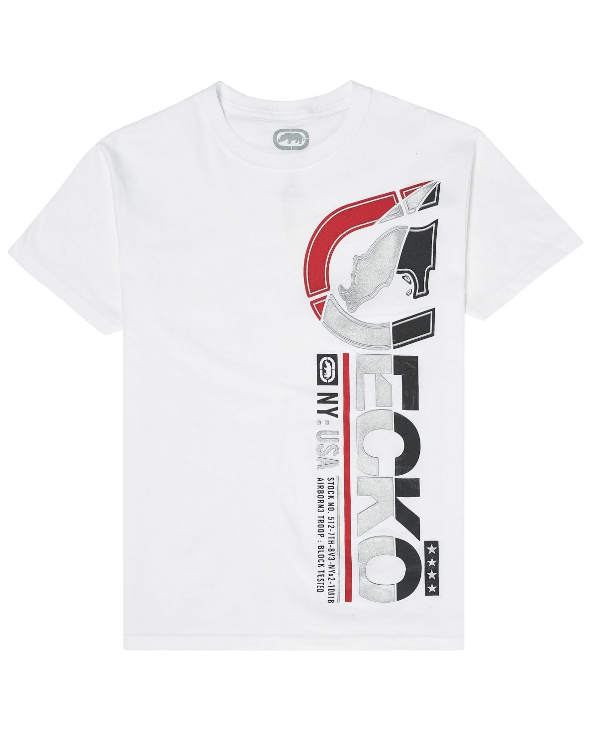 Mens Puff Paint Lettering Graphic T-Shirt Ecko Unltd