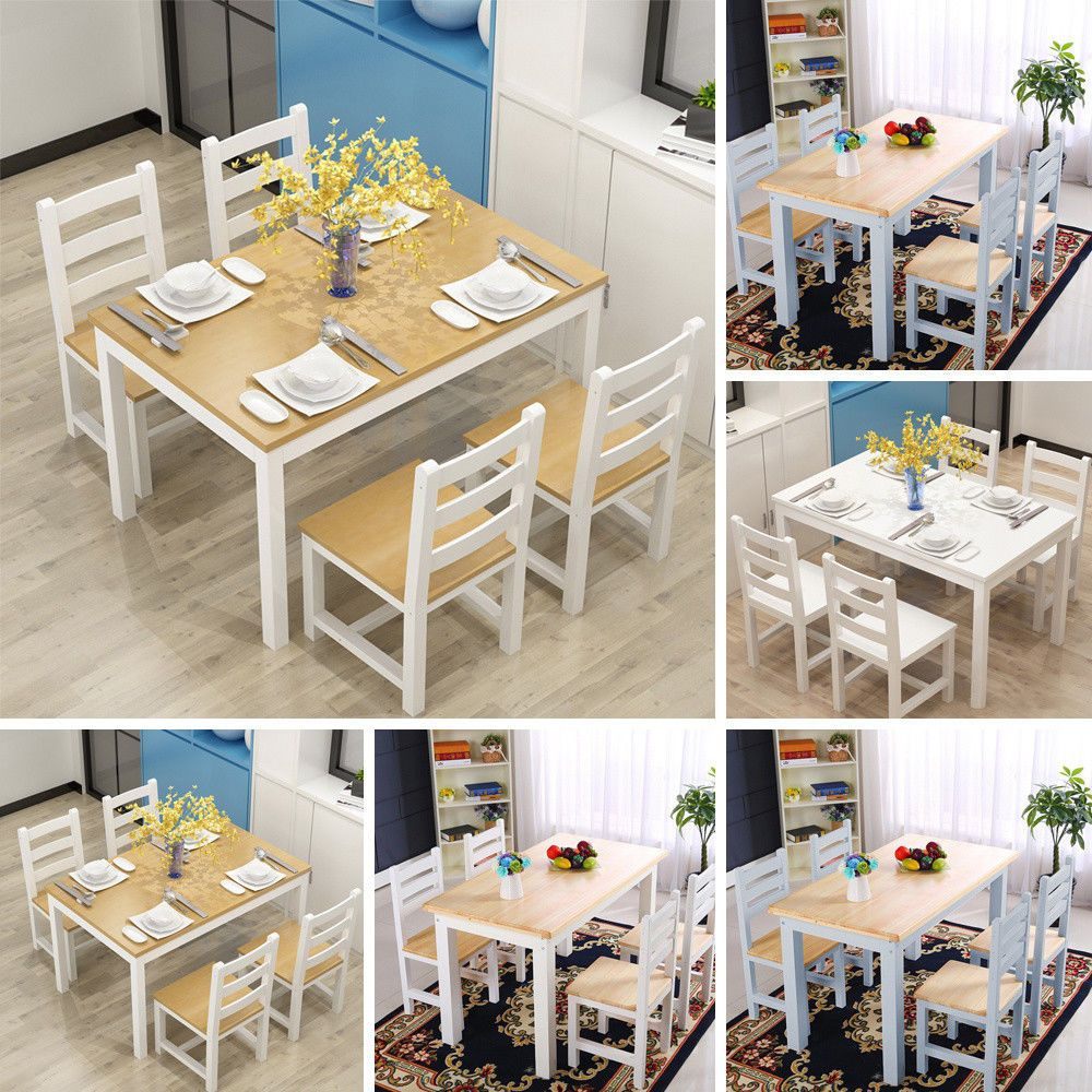 f7f3b9ffae2 Solid Pine Wood Dining Table and 4 Chair Set Kitchen Dining Home Furniture  White