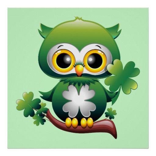 Baby Owl St Patrick Cartoon Poster Zazzle Com In 2021 Cartoon Posters Cute Owls Wallpaper Baby Owls